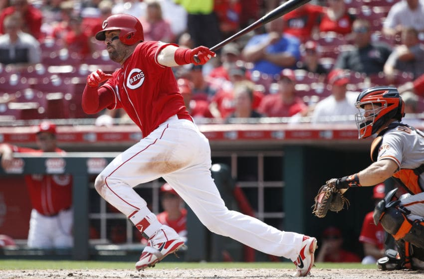 CINCINNATI, OH - AUGUST 19: Curt Casali #38 of the Cincinnati Reds singles in the seventh inning for his third hit of the game against the San Francisco Giants at Great American Ball Park on August 19, 2018 in Cincinnati, Ohio. The Reds won 11-4. (Photo by Joe Robbins/Getty Images)