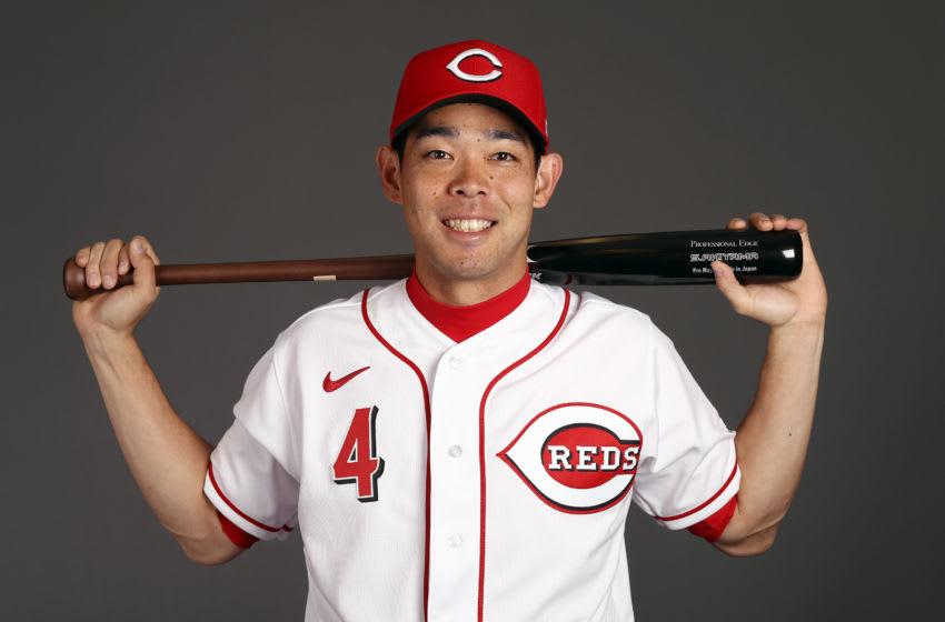 GOODYEAR, ARIZONA - FEBRUARY 19: Shogo Akiyama #4 of Japan poses during Cincinnati Reds Photo Day on February 19, 2020 in Goodyear, Arizona. (Photo by Jamie Squire/Getty Images)