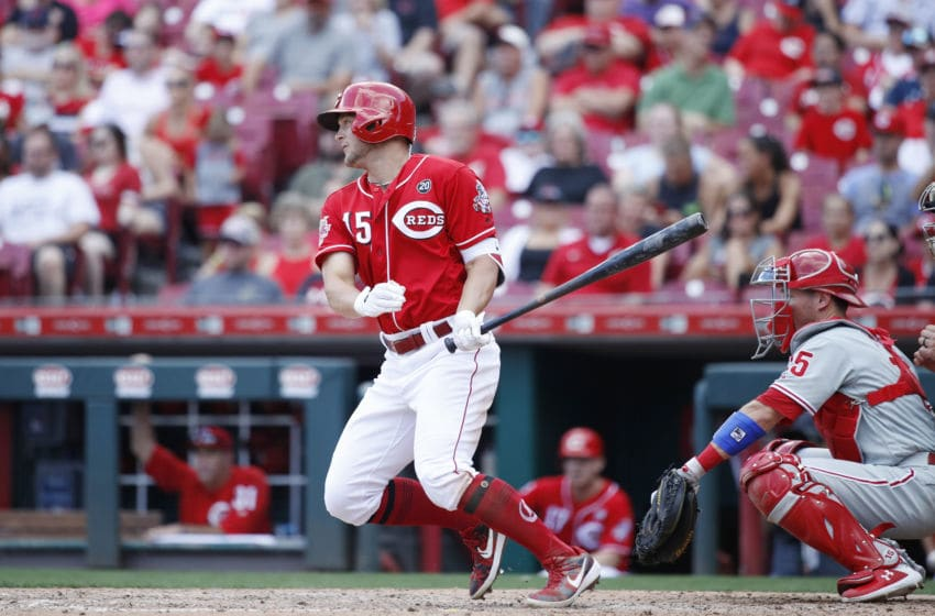 CINCINNATI, OH - SEPTEMBER 02: Nick Senzel #15 of the Cincinnati Reds bats during a game against the Philadelphia Phillies at Great American Ball Park on September 2, 2019 in Cincinnati, Ohio. The Phillies defeated the Reds 7-1. (Photo by Joe Robbins/Getty Images)
