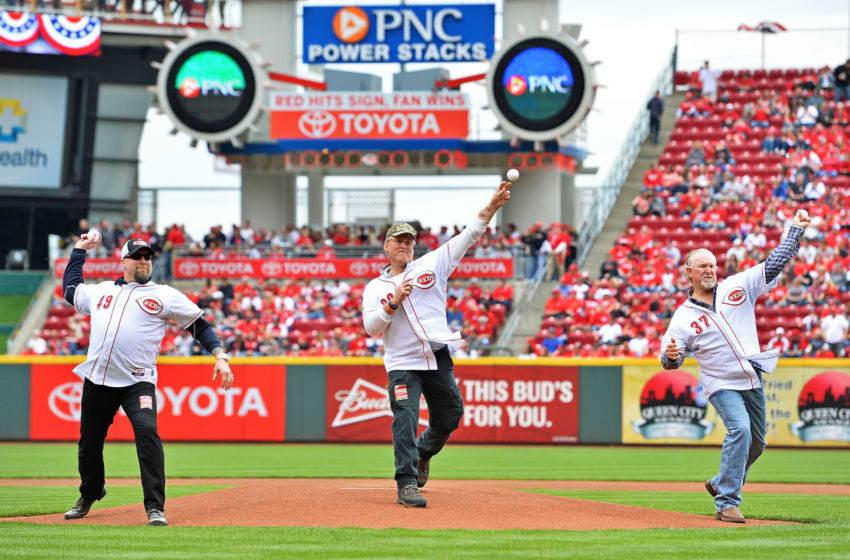 CINCINNATI, OH - APRIL 6: Former Cincinnati Reds pitchers Rob Dibble #49, Randy Meyer #28 and Norm Charlton #37 (Photo by Jamie Sabau/Getty Images)