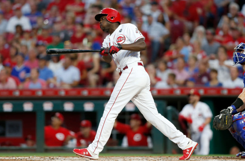 CINCINNATI, OH - AUGUST 10: Aristides Aquino #44 of the Cincinnati Reds (Photo by Kirk Irwin/Getty Images)