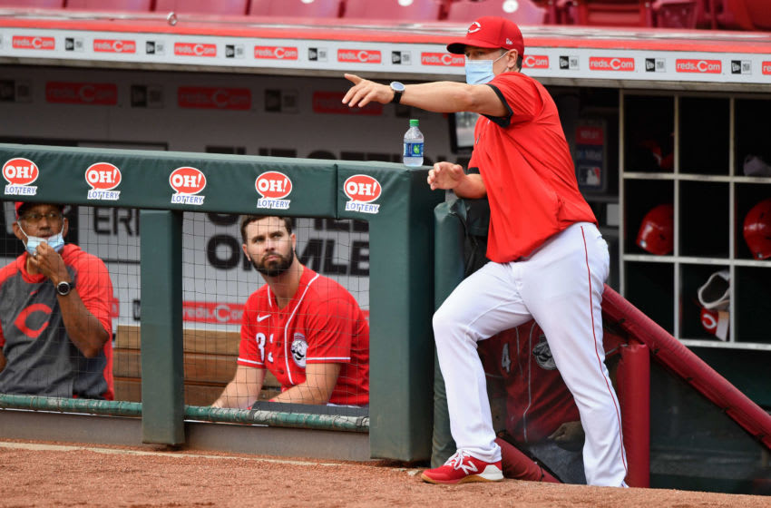 CINCINNATI, OH - JULY 10: Manager David Bell of the Cincinnati Reds (Photo by Jamie Sabau/Getty Images)