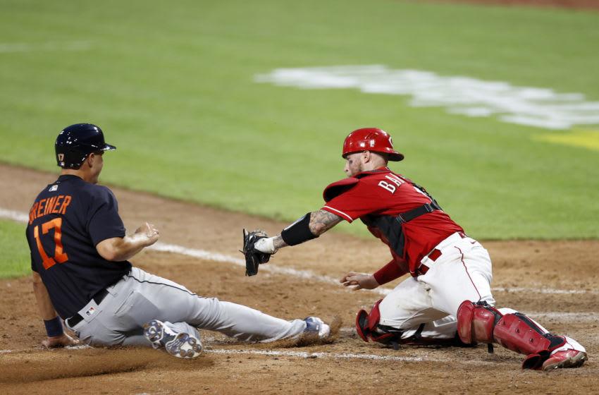 CINCINNATI, OH - JULY 21: Tucker Barnhart #16 of the Cincinnati Reds (Photo by Joe Robbins/Getty Images)