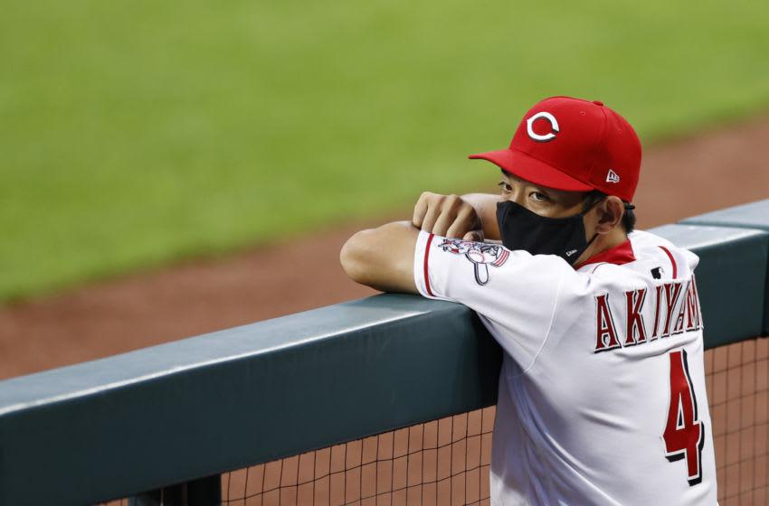 CINCINNATI, OH - JULY 27: Shogo Akiyama #4 of the Cincinnati Reds (Photo by Joe Robbins/Getty Images)