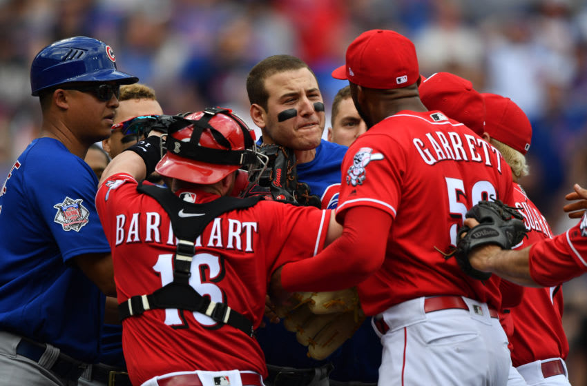 CINCINNATI, OH - MAY 19: Anthony Rizzo #44 of the Chicago Cubs confronts pitcher Amir Garrett #50 of the Cincinnati Reds (Photo by Jamie Sabau/Getty Images)