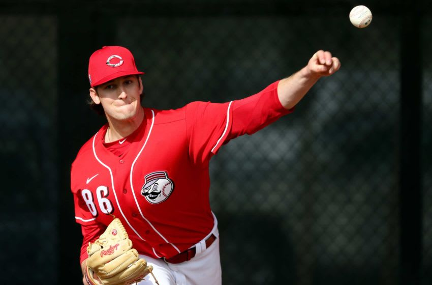 Reds non-roster invitee pitcher Nick Lodolo (86) delivers in the bullpen. Cincinnati Reds Spring Training 2 23 2020