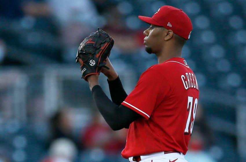 Cincinnati Reds starting pitcher Hunter Greene (79) waits for a signal. Los Angeles Angels At Cincinnati Reds