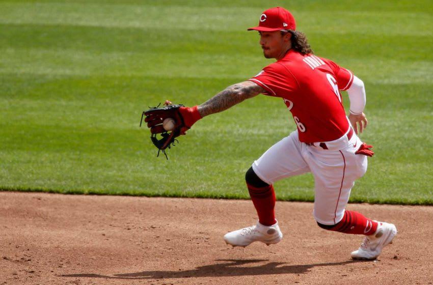 Cincinnati Reds second baseman Jonathan India (6) fields a ground ball.