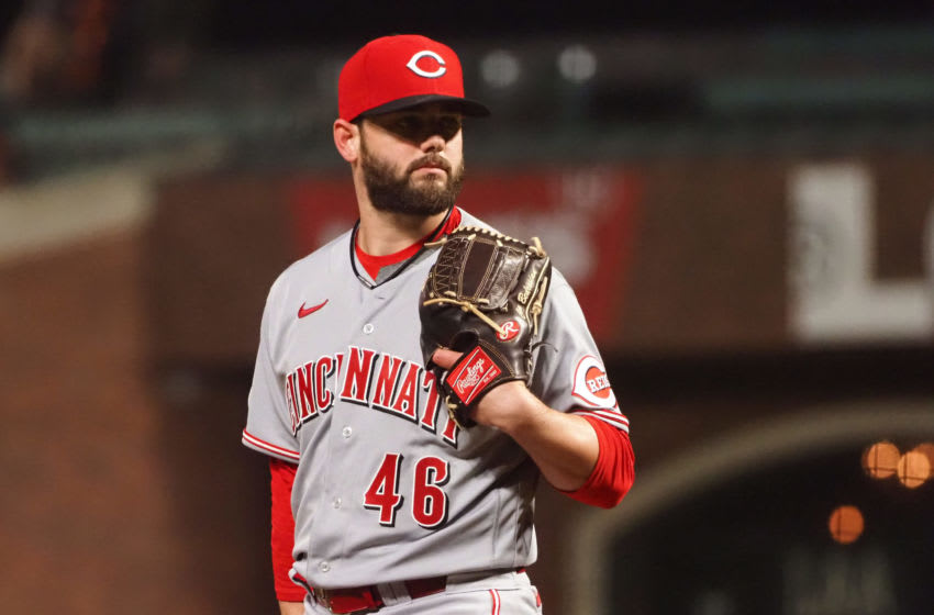Apr 13, 2021; San Francisco, California, USA; Cincinnati Reds relief pitcher Cam Bedrosian (46) looks on from the mound. Mandatory Credit: Kelley L Cox-USA TODAY Sports