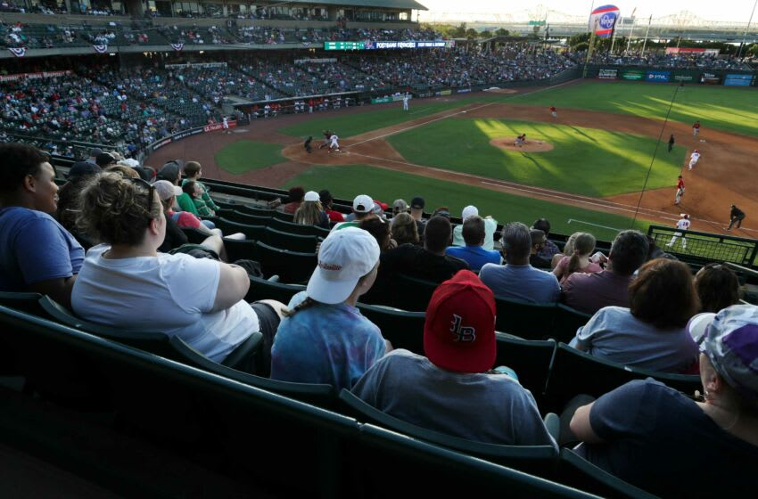 Over 10,000 spectators filled Slugger Field to watch the Louisville Bats play. Slugger01 Sam