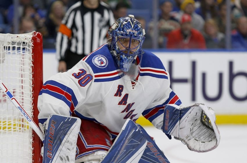 Dec 1, 2016; Buffalo, NY, USA; New York Rangers goalie Henrik Lundqvist (30) looks for the puck during the second period against the Buffalo Sabres at KeyBank Center. Mandatory Credit: Timothy T. Ludwig-USA TODAY Sports