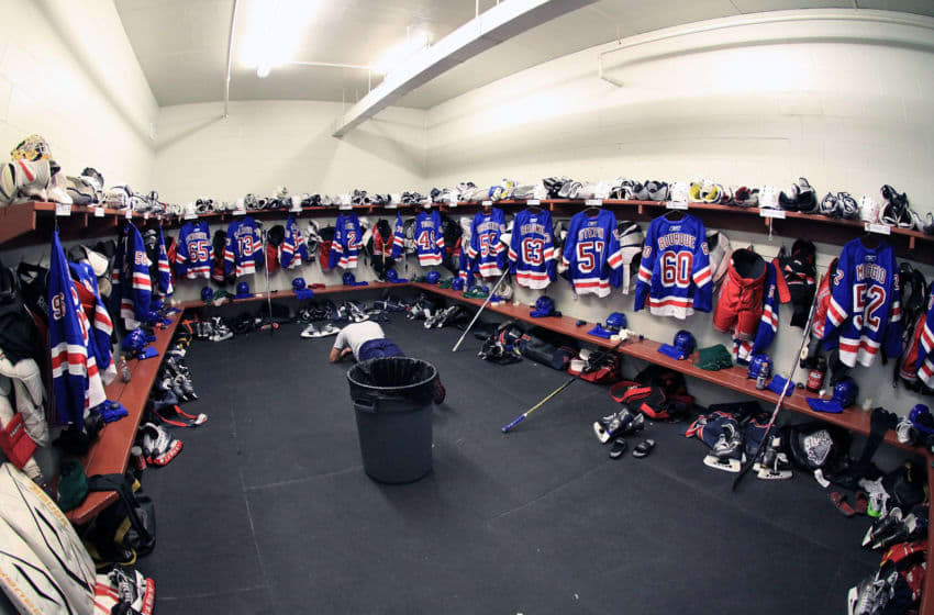 TRAVERSE CITY, MI - SEPTEMBER 14: A wide view of the New York Rangers locker room during the NHL Prospects Tournament on September 14, 2010 at Centre Ice Arena in Traverse City, Michigan. (Photo by Dave Reginek/Getty Images)