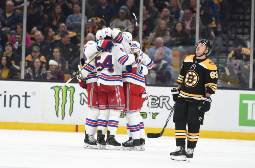 BOSTON, MA - JANUARY 19: The New York Rangers celebrate a goal against the Boston Bruins at the TD Garden on January 19, 2019 in Boston, Massachusetts. (Photo by Steve Babineau/NHLI via Getty Images)