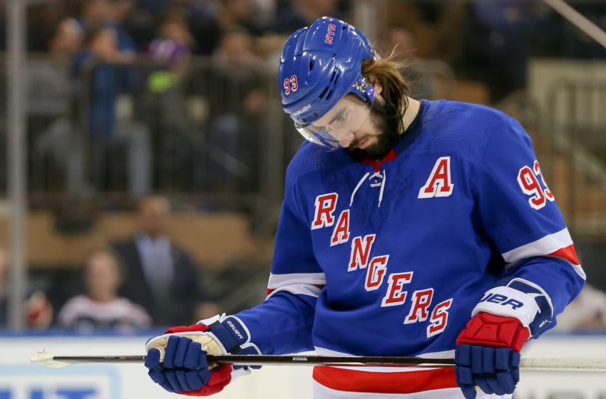 NEW YORK, NY - FEBRUARY 21: New York Rangers Center Mika Zibanejad (93) is pictured during the National Hockey League game between the Minnesota Wild and the New York Rangers on February 21, 2019 at Madison Square Garden in New York, NY. (Photo by Joshua Sarner/Icon Sportswire via Getty Images)
