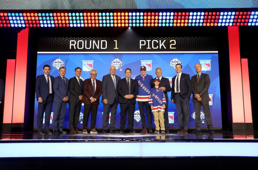 VANCOUVER, BRITISH COLUMBIA - JUNE 21: Kaapp Kakko smiles after being selected second overall by the New York Rangers during the first round of the 2019 NHL Draft at Rogers Arena on June 21, 2019 in Vancouver, Canada. (Photo by Bruce Bennett/Getty Images)