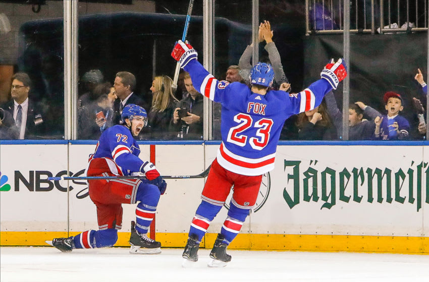 NEW YORK, NY - OCTOBER 29: New York Rangers center Filip Chytil (72) celebrates goal as New York Rangers defenseman Adam Fox (23) congratulates him during the Tampa Bay Lightning and New York Rangers NHL game on October 29, 2019, at Madison Square Garden in New York, NY. (Photo by John Crouch/Icon Sportswire via Getty Images)