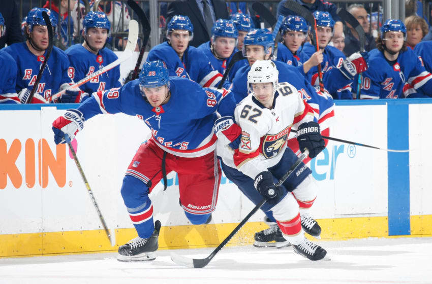 NEW YORK, NY - NOVEMBER 10: Pavel Buchnevich #89 of the New York Rangers skates skates against Denis Malgin #62 of the Florida Panthers at Madison Square Garden on November 10, 2019 in New York City. (Photo by Jared Silber/NHLI via Getty Images)