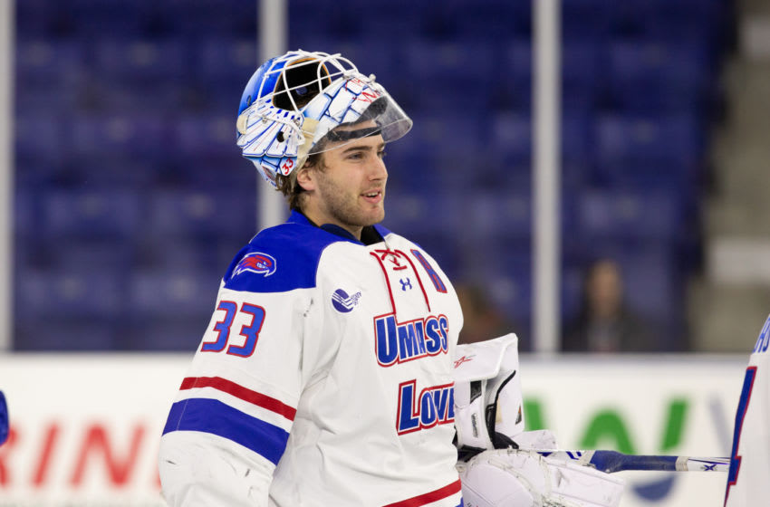 Tyler Wall #33 of the Massachusetts Lowell River Hawks (Photo by Richard T Gagnon/Getty Images)