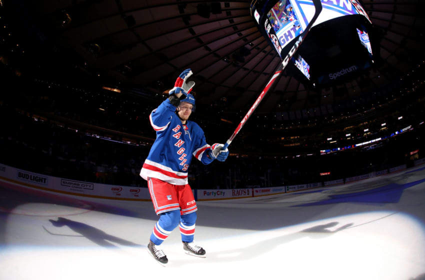 NEW YORK, NY - JANUARY 13: Artemi Panarin #10 of the New York Rangers is named the first star of the game against the New York Islanders at Madison Square Garden on January 13, 2020 in New York City. (Photo by Jared Silber/NHLI via Getty Images)
