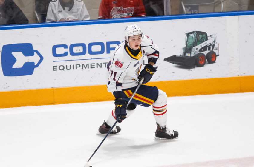 tyson Foerster #71 of the Barrie Colts s(Photo by Chris Tanouye/Getty Images)