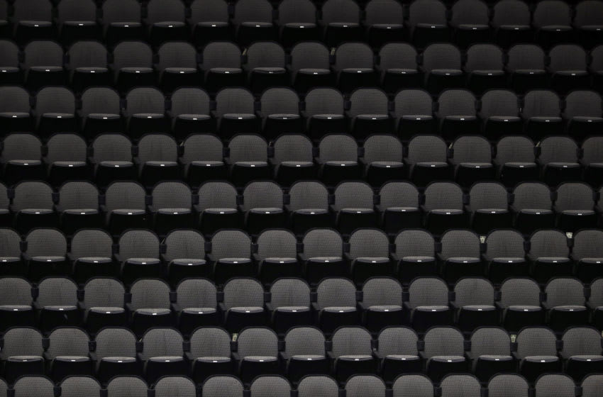 DALLAS, TEXAS - MARCH 07: Empty stands before fans enter the arena for a game between the Nashville Predators and the Dallas Stars at American Airlines Center on March 07, 2020 in Dallas, Texas. (Photo by Ronald Martinez/Getty Images)