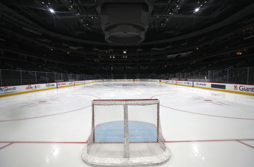 A goal sits on the empty ice (Photo by Patrick Smith/Getty Images)