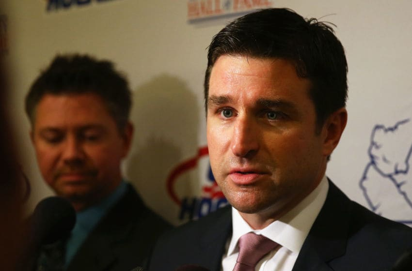 BOSTON, MA - DECEMBER 17: Chris Drury talks with the media before the U.S. Hockey Hall of Fame Induction ceremony at Renaissance Boston Waterfront Hotel on December 17, 2015 in Boston, Massachusetts. (Photo by Maddie Meyer/Getty Images)