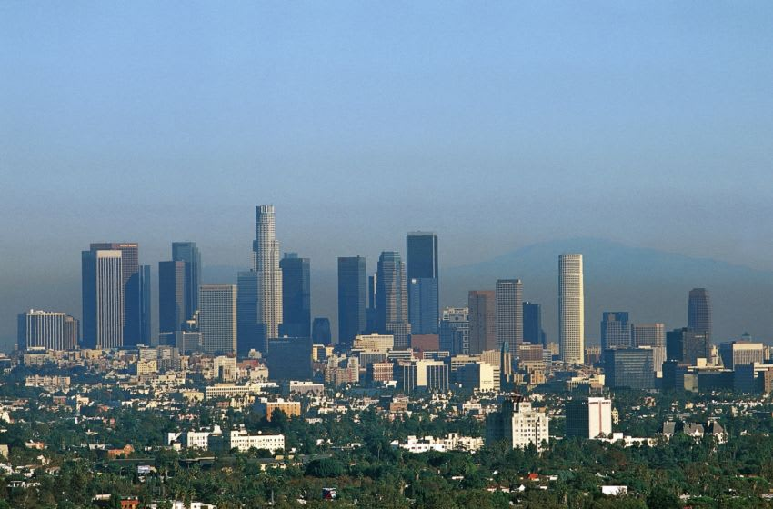 UNITED STATES - JANUARY 26: Skyscrapers of Downtown Los Angeles, administrative and financial district of the city, California, United States of America. (Photo by DeAgostini/Getty Images)