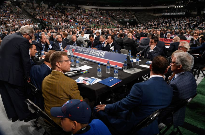 DALLAS, TX - JUNE 22: A general view of the New York Rangers draft table is seen during the first round of the 2018 NHL Draft at American Airlines Center on June 22, 2018 in Dallas, Texas. (Photo by Brian Babineau/NHLI via Getty Images)