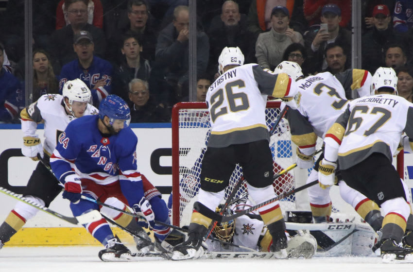 Marc-Andre Fleury #29 of the Vegas Golden Knights makes the first period save on Boo Nieves #24 of the New York Rangers(Photo by Bruce Bennett/Getty Images)