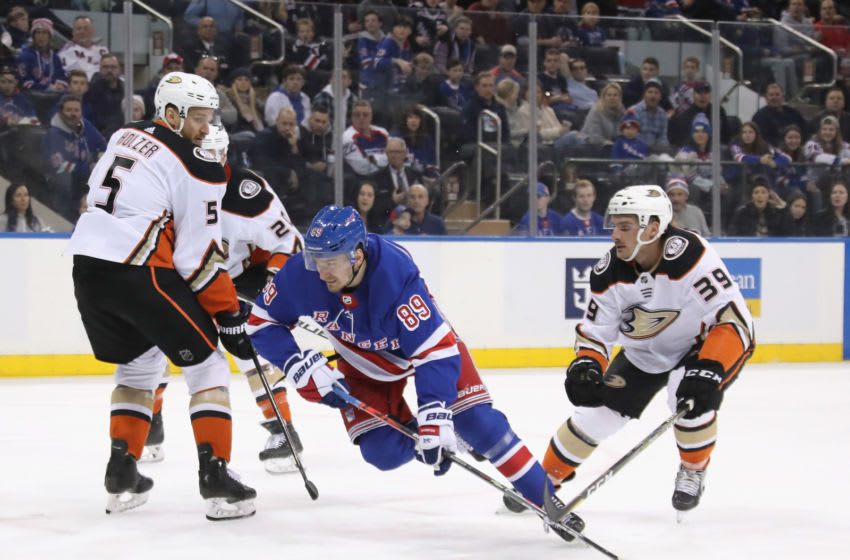 NEW YORK, NEW YORK - DECEMBER 22: Pavel Buchnevich #89 of the New York Rangers skates against the Anaheim Ducks at Madison Square Garden on December 22, 2019 in New York City. The Rangers defeated the Ducks 5-1. (Photo by Bruce Bennett/Getty Images)