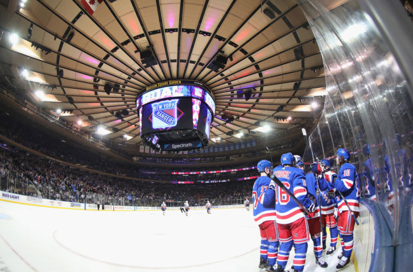 NEW YORK, NEW YORK - JANUARY 13: The New York Rangers celebrate a second period goal by Adam Fox #23 against the New York Islanders at Madison Square Garden on January 13, 2020 in New York City. (Photo by Bruce Bennett/Getty Images)