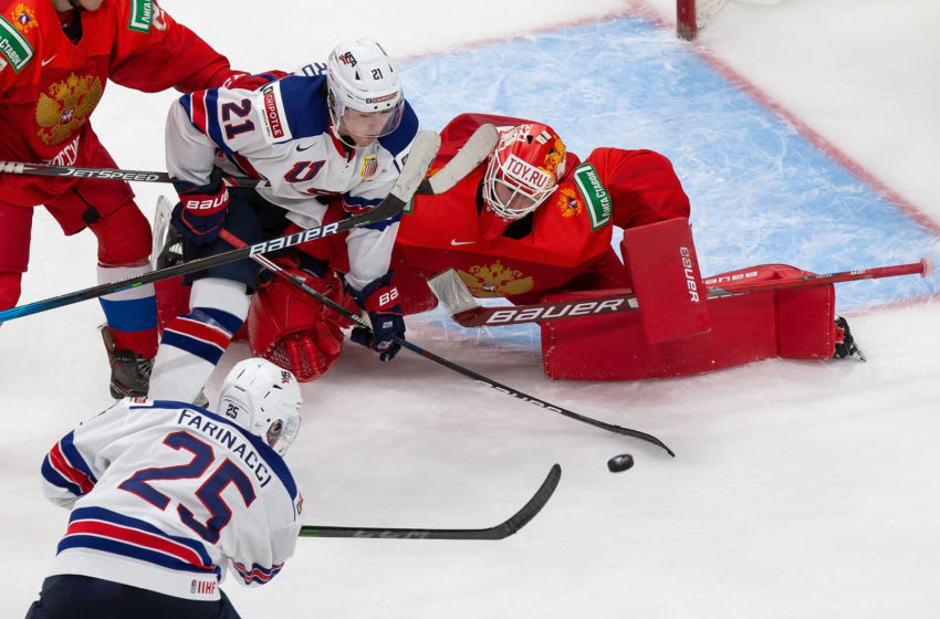 New York Rangers prospect Brett Berard in front of the Russian net as Team USA scores. . (Photo by Codie McLachlan/Getty Images)