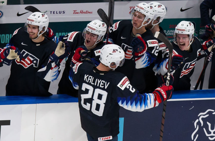 EDMONTON, AB - JANUARY 04: Arthur Kaliyev #28 of the United States celebrates the game-winning goal against Finland during the 2021 IIHF World Junior Championship semifinals at Rogers Place on January 4, 2021 in Edmonton, Canada. (Photo by Codie McLachlan/Getty Images)
