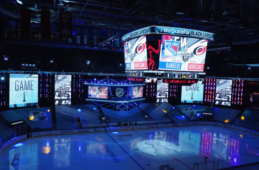TORONTO, ONTARIO - AUGUST 01: A general view of arena signage during the game between the New York Rangers and the Carolina Hurricanes in Game One of the Eastern Conference Qualification Round prior to the 2020 NHL Stanley Cup Playoffs at Scotiabank Arena on August 1, 2020 in Toronto, Ontario, Canada. (Photo by Andre Ringuette/Getty Images)