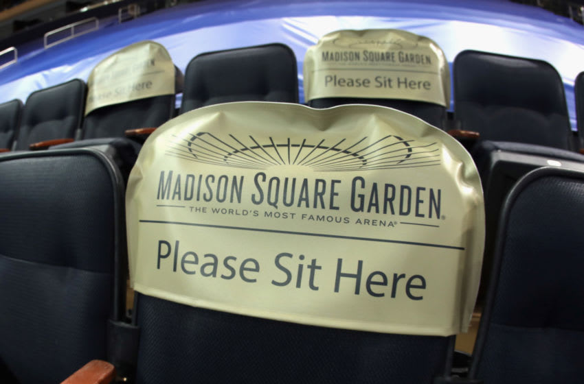 NEW YORK, NEW YORK - FEBRUARY 10: Seats are earmarked for fans at future games prior to the game between the New York Rangers and the Boston Bruins at Madison Square Garden on February 10, 2021 in New York City. New York State announced today that arenas can re-open on February 23 at 10% occupancy. (Photo by Bruce Bennett/Getty Images)
