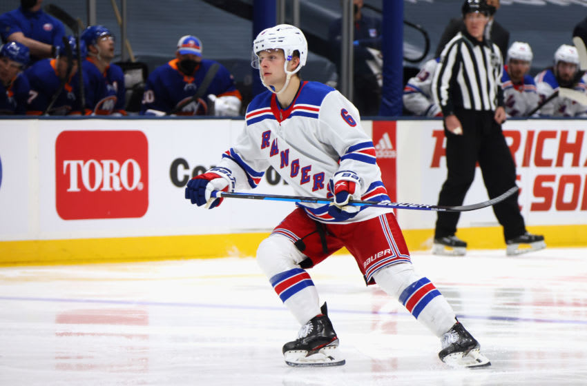 UNIONDALE, NEW YORK - MAY 01: Zac Jones #6 of the New York Rangers skates against the New York Islanders at the Nassau Coliseum on May 01, 2021 in Uniondale, New York. (Photo by Bruce Bennett/Getty Images)