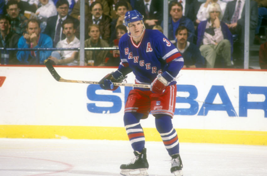 LANDOVER, MD - OCTOBER 13: James Patrick #3 of the New York Rangers looks on during a hockey game against the Washington Capitals on December 13, 1989 at Capital Centre in Landover, Maryland. The Capitals won 7-4. (Photo by Mitchell Layton/Getty Images)