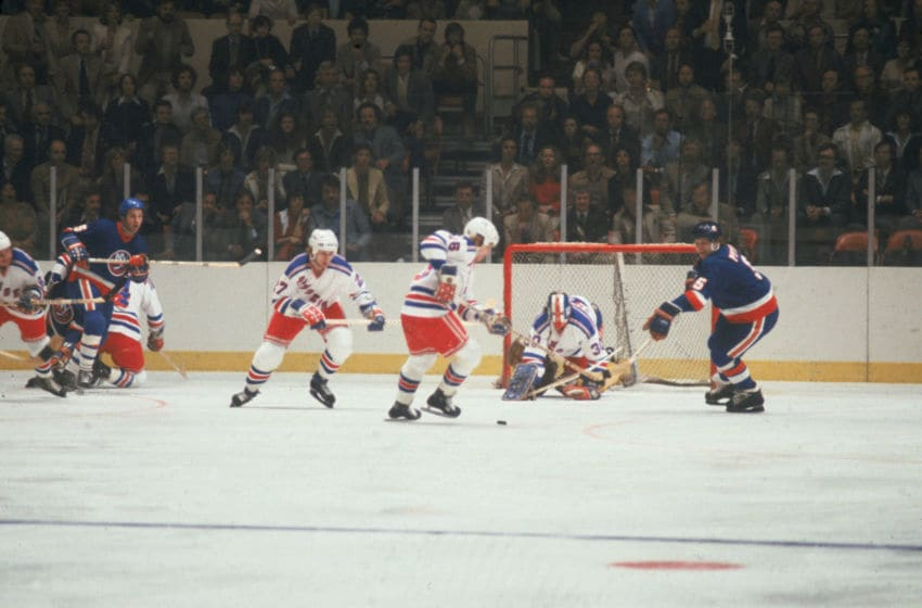 John Davidson , goalkeeper for the New York Rangers, (Photo by Melchior DiGiacomo/Getty Images)