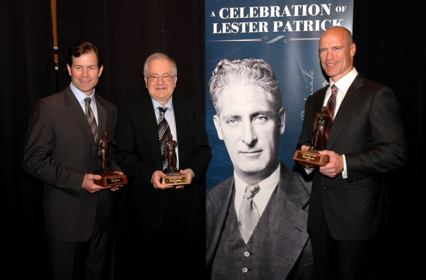 NEW YORK - OCTOBER 21: 2009 Lester Patrick Trophy winners ( L-R) Mike Richter Jim Devellano and Mark Messier pose for a photo during the Lester Patrick Trophy Celebration at Gotham Hall on October 21, 2009 in New York City. (Photo by Andy Marlin/Getty Images)