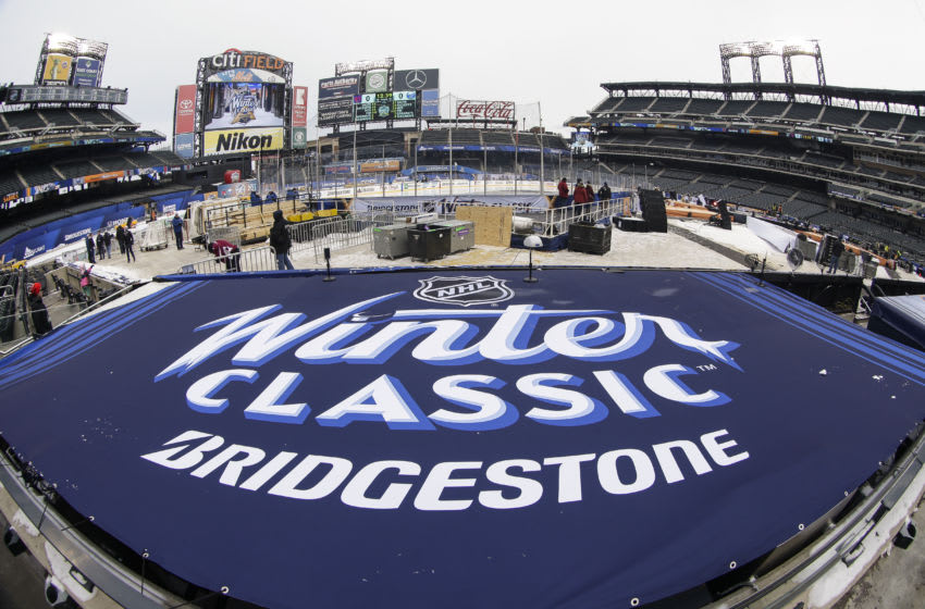 FLUSHING, NY - DECEMBER 31: Winter Classic logo displayed on New York Mets dugout during practice for the the New York Rangers and Buffalo Sabres Winter Classic NHL game on December 31, 2017, at Citi Field in Flushing, NY. (Photo by John Crouch/Icon Sportswire via Getty Images)