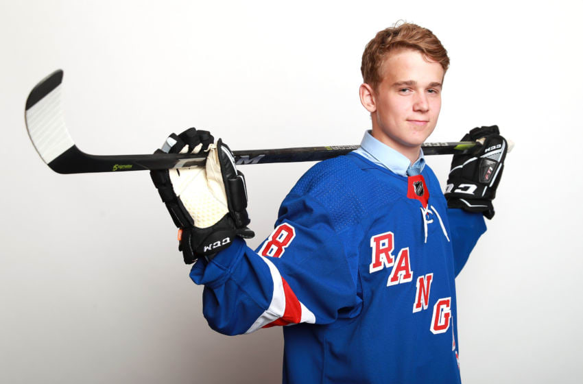 Nils Lundkvist poses after being selected twenty-eighth overall by the New York Rangers