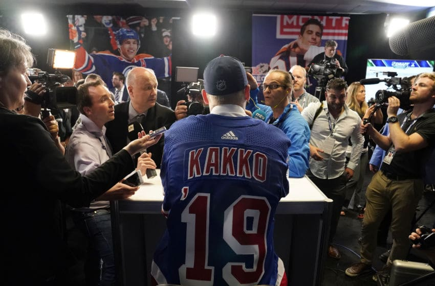 VANCOUVER, BRITISH COLUMBIA - JUNE 21: Kaapp Kakko speaks to the media after being selected second overall by the New York Rangers during the first round of the 2019 NHL Draft at Rogers Arena on June 21, 2019 in Vancouver, Canada. (Photo by Rich Lam/Getty Images)