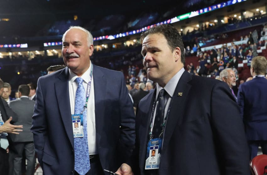 VANCOUVER, BRITISH COLUMBIA - JUNE 21: (L-R) John Davidson and Jeff Gorton of the New York Rangers attends the 2019 NHL Draft at the Rogers Arena on June 21, 2019 in Vancouver, Canada. (Photo by Bruce Bennett/Getty Images)