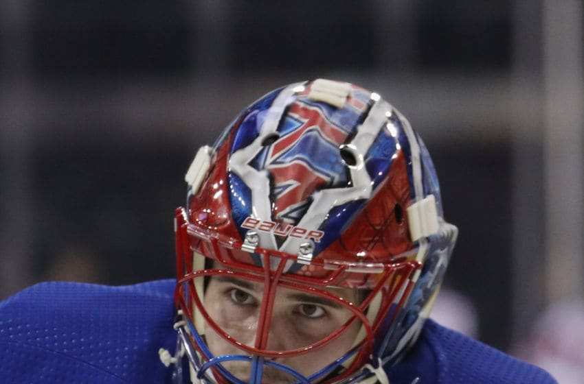 NEW YORK, NEW YORK - SEPTEMBER 18: Igor Shesterkin #31 of the New York Rangers skates in warm-ups prior to the game against the New Jersey Devils at Madison Square Garden on September 18, 2019 in New York City. (Photo by Bruce Bennett/Getty Images)