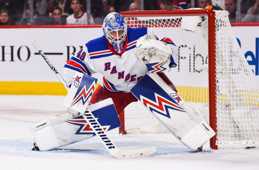 MONTREAL, QC - NOVEMBER 23: New York Rangers goalie Alexander Georgiev (40) tracks the play on his right during the New York Rangers versus the Montreal Canadiens game on November 23, 2019, at Bell Centre in Montreal, QC (Photo by David Kirouac/Icon Sportswire via Getty Images)