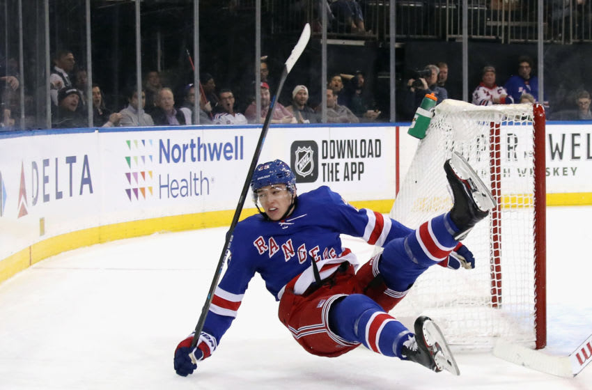 NEW YORK, NEW YORK - NOVEMBER 06: Libor Hajek #25 of the New York Rangers is tripped up by Jimmy Howard #35 of the Detroit Red Wings during the second period at Madison Square Garden on November 06, 2019 in New York City. The Rangers defeated the Red Wings 5-1. (Photo by Bruce Bennett/Getty Images)