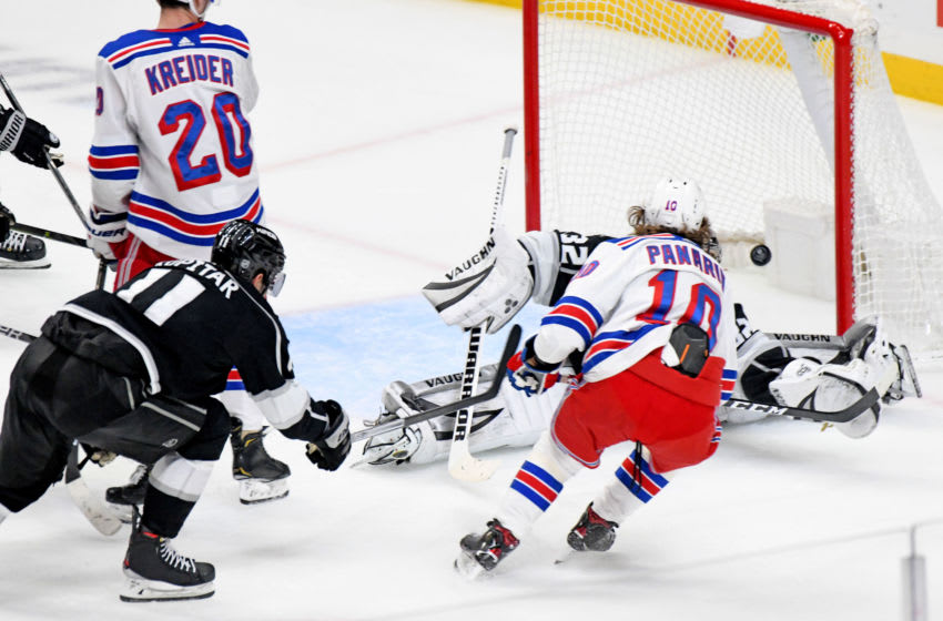 LOS ANGELES, CA - DECEMBER 10: New York Rangers Left Wing Artemi Panarin (10) score the Rangers' only goal late in the third period against Los Angeles Kings Goalie Jonathan Quick (32) on December 10, 2019, at the Staples Center in Los Angeles, CA. (Photo by Rob Curtis/Icon Sportswire via Getty Images)