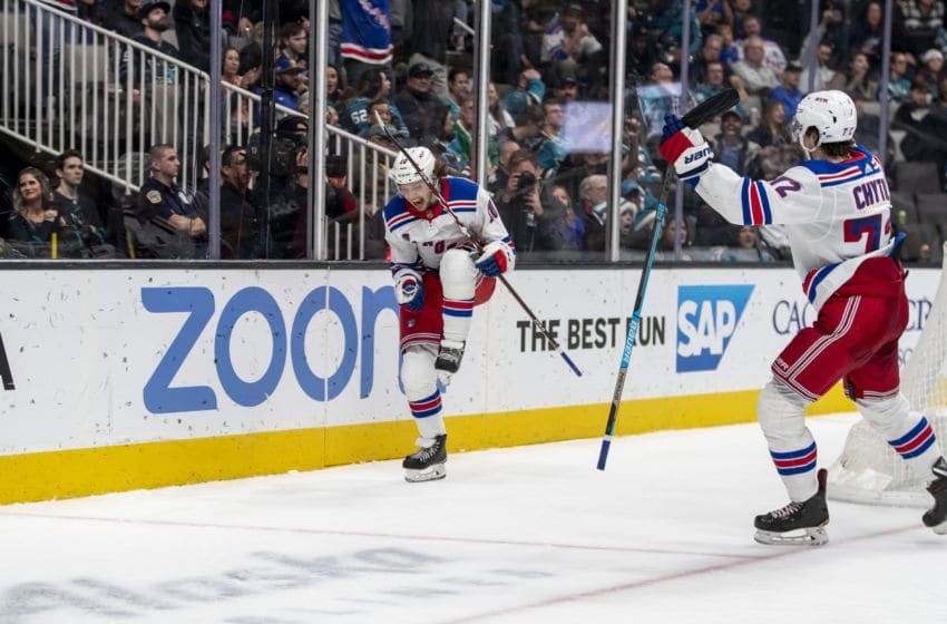 SAN JOSE, CA - DECEMBER 12: New York Rangers Left Wing Artemi Panarin (10) celebrates his goal during the NHL hockey game between the New York Rangers and San Jose Sharks on December, 12, 2019 at the SAP Center in San Jose, CA. (Photo by Bob Kupbens/Icon Sportswire via Getty Images)