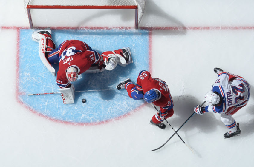 MONTREAL, QC - NOVEMBER 23: Carey Price #31 of the Montreal Canadiens stops a shot by Filip Chytil #72 of the New York Rangers in the NHL game at the Bell Centre on November 23, 2019 in Montreal, Quebec, Canada. (Photo by Francois Lacasse/NHLI via Getty Images)
